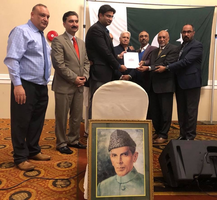 The members of Punjabi Business Association of Canada presenting the letter of thanks to Pakistani Consul in Vancouver Fahad Amjad (third from left).