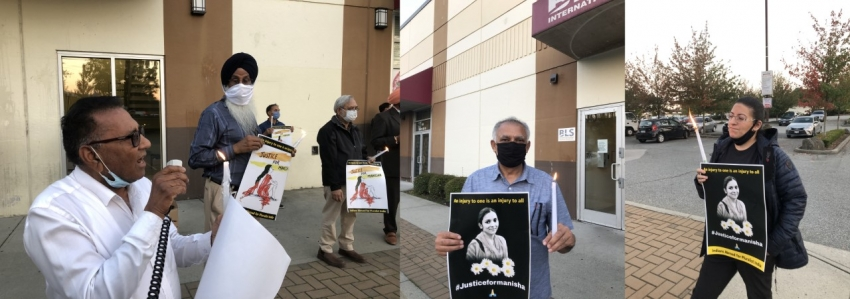 Candlelight vigil for Manisha held outside Indian passport and visa office in Surrey
