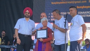 Shushma Datt honoured for standing up against racism at a community festival in Surrey